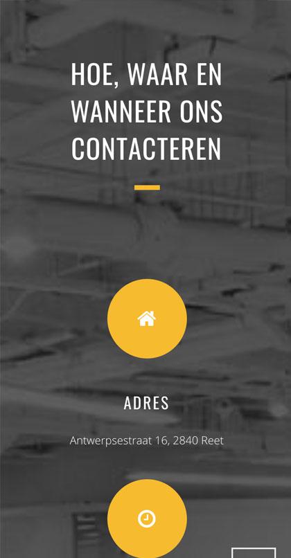 Уеб сайт дизайн за Kimaro - изглед за мобилни устройства